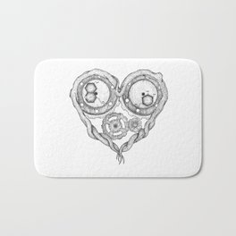 Chemistry of love: dopamine and serotonin formula (black and white version) Bath Mat