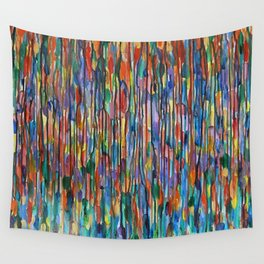 Bright Colorful Abstract Art with Red, Blue, Green, Purple, Yellow, Multicolor Striped Lines Wall Tapestry