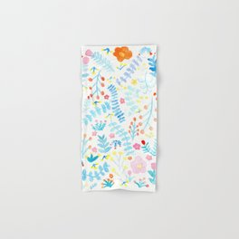 Blue Natural Floral and Leaves Elements Hand & Bath Towel