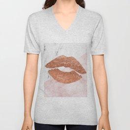 Kiss me marble Unisex V-Neck