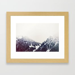 Vintage Snowy Mountain Framed Art Print