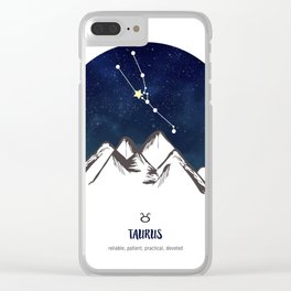 Astrology Taurus Zodiac Horoscope Constellation Star Sign Watercolor Poster Wall Art Clear iPhone Case