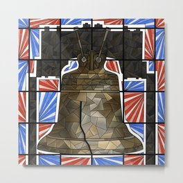 Liberty Bell stained glass Metal Print