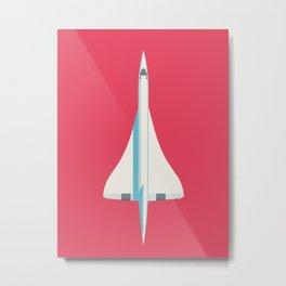 Concorde Supersonic Jet Airliner - Crimson Metal Print