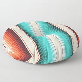 Navajo White, Turquoise and Burnt Orange Southwest Serape Blanket Stripes Floor Pillow