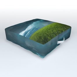 April Showers - Colorful Stormy Sky Over Lush Field in Kansas Outdoor Floor Cushion