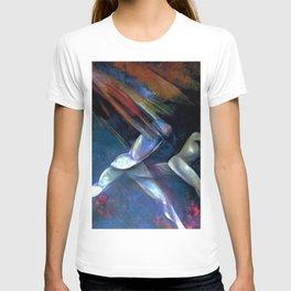 Raining fire portrait painting man and woman running by Antonio Masini T-shirt