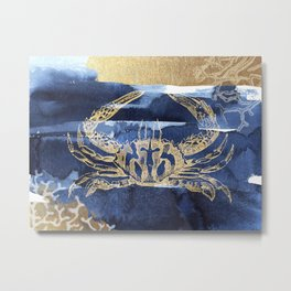 Coastal Blue Crab Metal Print