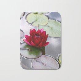 Dark Red Water Lily Bath Mat