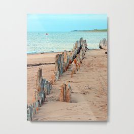 Wharf Remains on the Beach Metal Print
