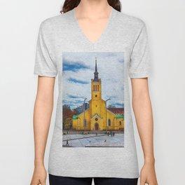Tallinn art 5 #tallinn #city Unisex V-Neck