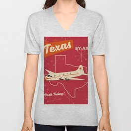 Texas By air vintage poster Unisex V-Neck