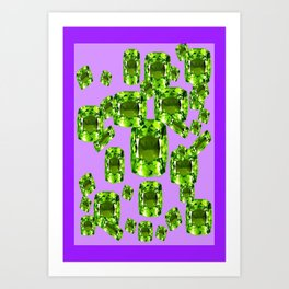 Green Peridot Birthstone Gems with Purple Color Accents Art Print