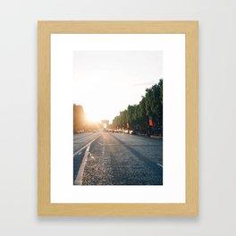 Champs Elysées at sunset Framed Art Print