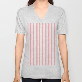 Cabana Stripes in Peachy Pink Unisex V-Neck