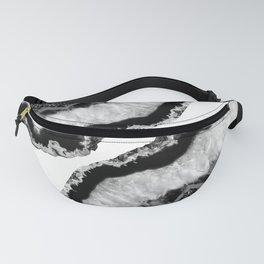 Gray Black White Agate Glitter Glamor #2 #gem #decor #art #society6 Fanny Pack