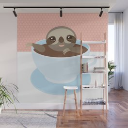 Sloth in a blue cup coffee, tea, Three-toed slot Wall Mural