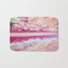 Freedom 2, Pink Sunset Beach, Pink Sky, Clouds, Skyscape, Waterscape Bath Mat