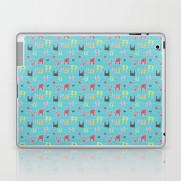 Colorful bunnies on blue background Laptop & iPad Skin