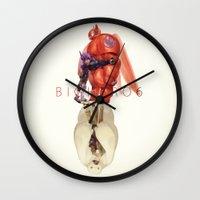 big hero 6 Wall Clocks featuring Big Hero 6 by NAVAR