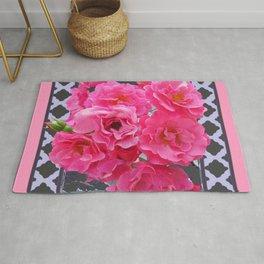 DECORATIVE PINK ROSES GREY LATTICE ART Rug