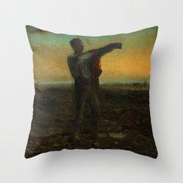 """Jean-François Millet """"La fin de la journée; effect du soir (The end of the day; evening effect)"""" Throw Pillow"""