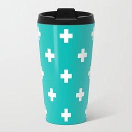 Swiss cross pattern on tiffany blue Travel Mug