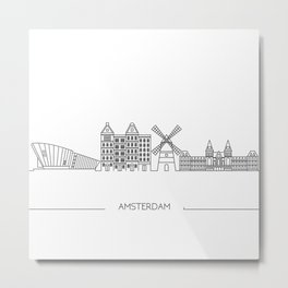 Amsterdam Skyline, Line Art, Drawing, Amsterdam Print, Minimalist, Skyline Black and White Metal Print