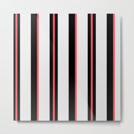 White black and pink lines Metal Print