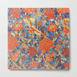 William Morris Wild Orange Floral Pattern Metal Print