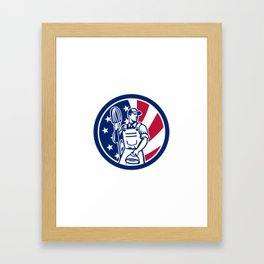 American Professional Cleaner USA Flag Icon Framed Art Print