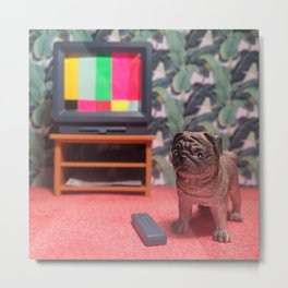 The Pug & The TV Test Pattern Metal Print