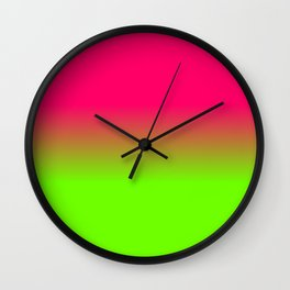 Neon Pink and Neon Green Ombré  Shade Color Fade Wall Clock