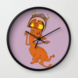 Lizard Warrior Wall Clock