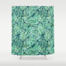 JUNGLE VIBES Green Monstera Watercolor Print Shower Curtain