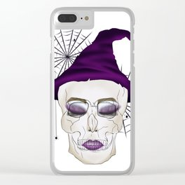 Creepy Halloween Skull Witch Clear iPhone Case