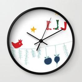Holiday bird white Wall Clock