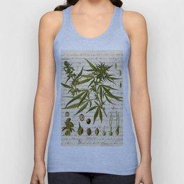 Marijuana Cannabis Botanical on Antique Journal Page Unisex Tank Top
