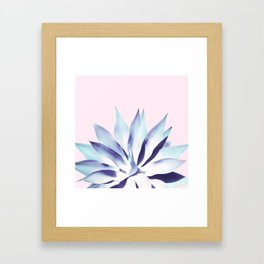 Solar Agave - Pastel blue on pink Framed Art Print