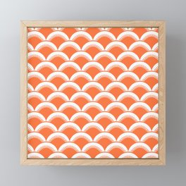 Japanese Fan Pattern 134 Orange Framed Mini Art Print