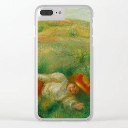 """Auguste Renoir """"Femme couchée dans l'herbe"""" Clear iPhone Case"""