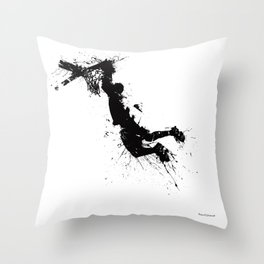 Basketball player dunking in ink Throw Pillow
