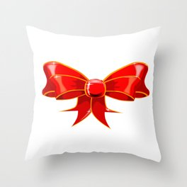 Isolated Red Ribbon Throw Pillow