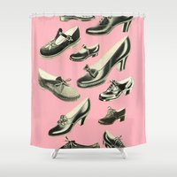 shoe Shower Curtains featuring Shoe Fetish by Cassia Beck