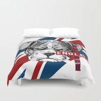 english bulldog Duvet Covers featuring English Bulldog by Det Tidkun