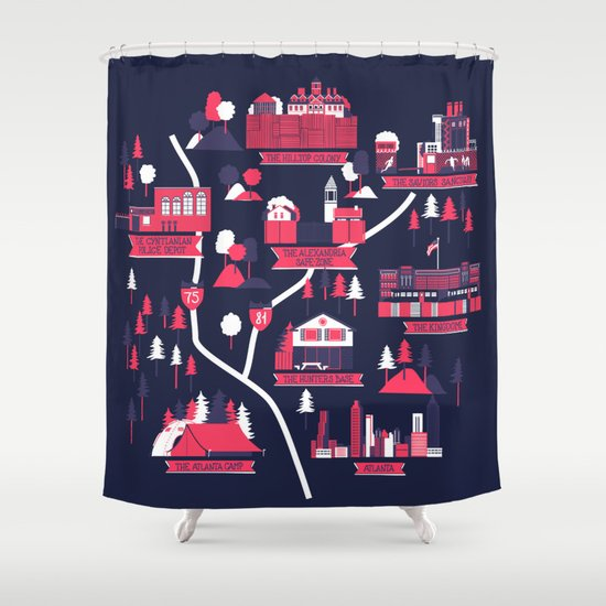 The Survivors Map (dark edition) Shower Curtain