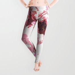 Pink Peony Flowers Leggings