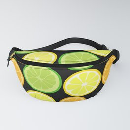 Citrus Slices on Black Fanny Pack