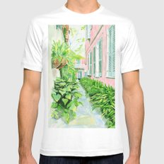 New Orleans Courtyard White MEDIUM Mens Fitted Tee