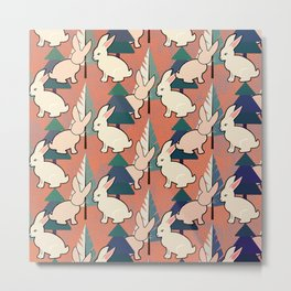 Bunnies and Trees 1 Metal Print